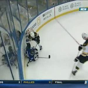 Johnny Boychuk throws down Tyler Johnson