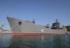"Russian Navy amphibious landing vessel ""Nikolai Filchenkov"" is docked at the Ukrainian Black Sea port of Sevastopol"