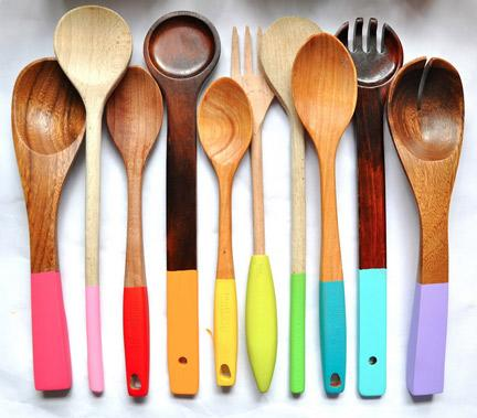 Paint-dipped Wooden Spoons
