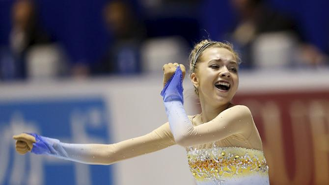 Radionova of Russia competes during the ladies' free skating program at the ISU World Team Trophy in Figure Skating in Tokyo