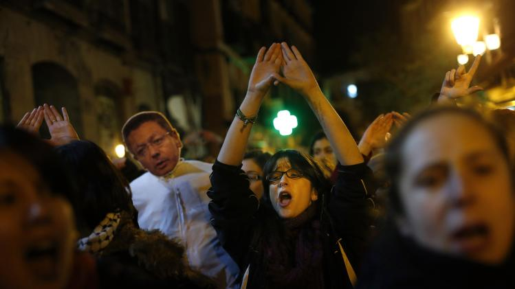 Demonstrators participate in a pro-choice protest against the proposed new abortion law in Madrid