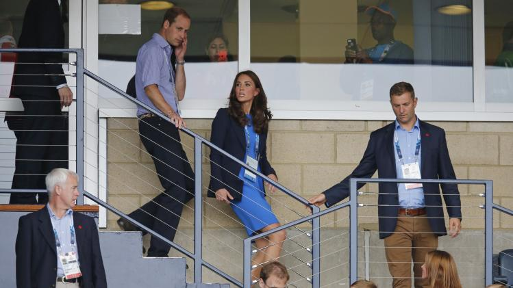 Prince William and his wife Catherine, Duchess of Cambridge, arrive to watch athletics at the 2014 Commonwealth Games in Glasgow, Scotland