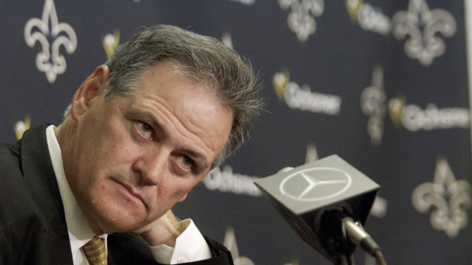 New Orleans Saints general manager Mickey Loomis looks on during a media availability about the NFL draft at the team's training facility in Metairie, La., Thursday, April 26, 2012. (AP Photo/Matthew Hinton)
