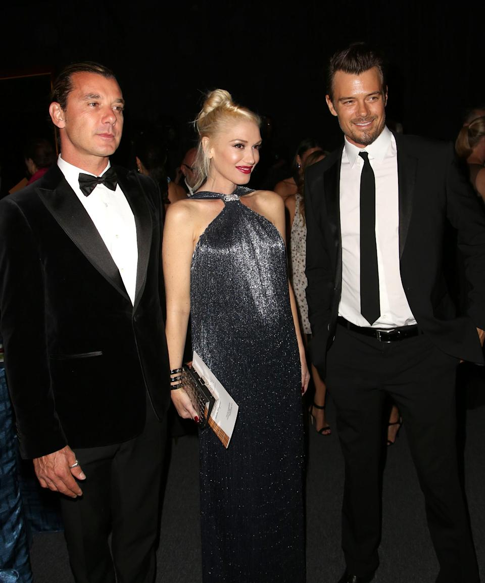 From left, musicians Gavin Rossdale, Gwen Stefani and actor Josh Duhamel attend the Wallis Annenberg Center for the Performing Arts Inaugural Gala on Thursday, Oct. 17, 2013, in Beverly Hills, Calif. (Photo by Brian Dowling/Invision/AP)