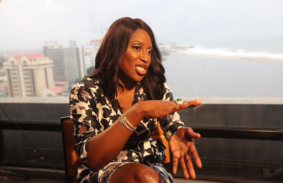 "In this photo taken on Friday, June 28, 2013, Mo Abudu, chief executive officer of EbonyLife TV, speaks to Associated Press during an interview in Lagos, Nigeria. Mo Abudu, who could be considered Africa's Oprah Winfrey, is launching an entertainment network that will be beamed into nearly every country on the continent with programs showcasing its burgeoning middle class. Mosunmola ""Mo"" Abudu wants EbonyLife TV to inspire Africans and the rest of the world, and change how viewers perceive the continent. (AP Photo/Sunday Alamba)"