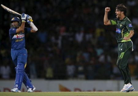 Pakistan's Ali celebrates after taking the wicket of Sri Lanka's Dilshan during their second Twenty 20 cricket match in Colombo