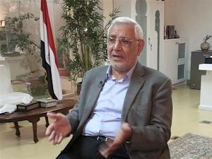 Former presidential candidate Abdel Moneim Abol Fotouh talks during an interview with Reuters, Cairo