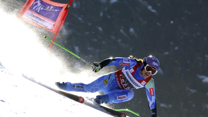 Slovenia's Tina Maze competes during a women's World Cup super-G, in Garmisch-Partenkirchen, Germany, Sunday, March 3, 2013. (AP Photo/Pier Marco Tacca)