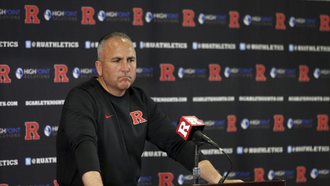 Rutgers head coach Kyle Flood speaks to the media during a news conference after an NCAA college football game against Maryland Saturday, Nov. 28, 2015, in Piscataway, N.J. Maryland won 46-41. (AP Photo/Mel Evans)