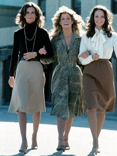 Kate Jackson, Farrah Fawcett and Jaclyn Smith on Charlie's Angels, 1976