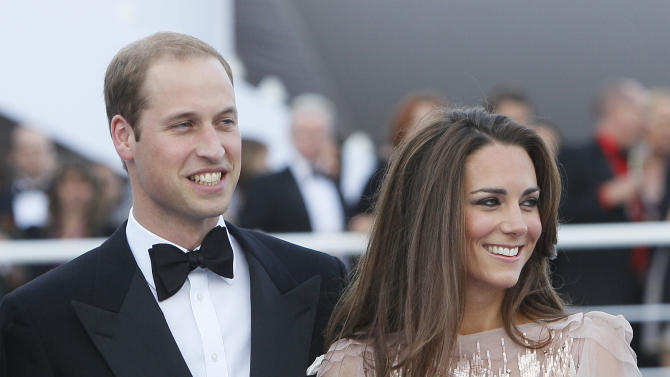 FILE -- Britain's Prince William, the Duke of Cambridge,  and his wife Kate, Duchess of Cambridge arrive at a charity event for Absolute Return for Kids, ARK, in  London, in this Thursday, June, 9, 2011 file photo. It sounds like a bit of a racket: $4000 for a three-course meal and a chance to see a polo match up close, or $400 for a box lunch and a chance to see the same match from the more distant bleachers. It gets better, however, when you throw in a chance to rub shoulders with the Duke and Duchess of Cambride, especially in southern California, where bragging about having a glass of wine with Prince William and the former Kate Middleton may just be worth the price of a used compact car or a week's vacation. That's what the organizers of a July 9 charity event at the Santa Barbara Polo & Racquet Club are hoping for. The glitzy royal couple makes a guest appearance there at the tail end of a ten-day trip to Canada and southern California that begins Thursday June 30, 2011, that marks their first overseas trip as man and wife, and the first test of their appeal on the international charity circuit.(AP Photo/Alastair Grant, file)