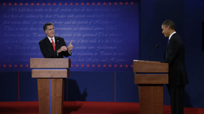 """FILE - In this Oct. 3, 2012 file photo, Republican presidential nominee Mitt Romney points to President Barack Obama during the first presidential debate at the University of Denver in Denver. Romney turned in a commanding performance in the first debate, while Obama was lackluster and disengaged. The contrast was startling, and it reinvigorated the Republican candidate and his supporters.""""I had a bad night,"""" Obama conceded, and he upped his game for the next two debates. That was enough to satisfy nervous Democrats that their candidate was truly in it to win it. But Romney still was feeling the energy when a most unlikely October surprise upended both sides' game plans in the home stretch of the campaign. (AP Photo/Eric Gay, File)"""