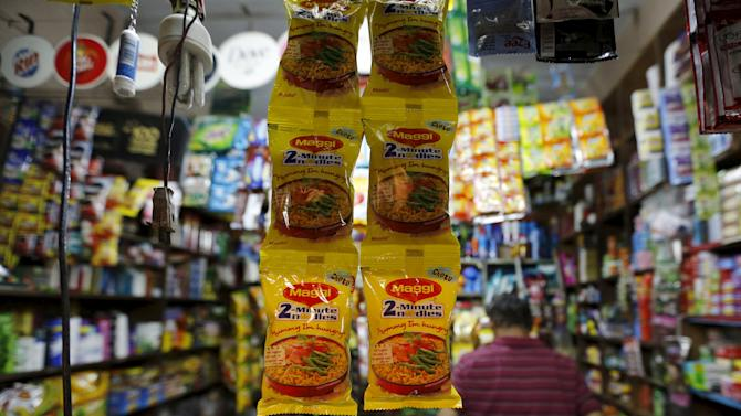 Packets of Maggi instant noodles are seen on display at a grocery store in Ahmedabad