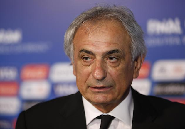 Algeria head coach Vahid Halilhodzic from Bosnia answers journalists' questions after   the draw ceremony for the 2014 soccer World Cup in Costa do Sauipe near Salvador, Brazil, Friday, Dec. 6, 20