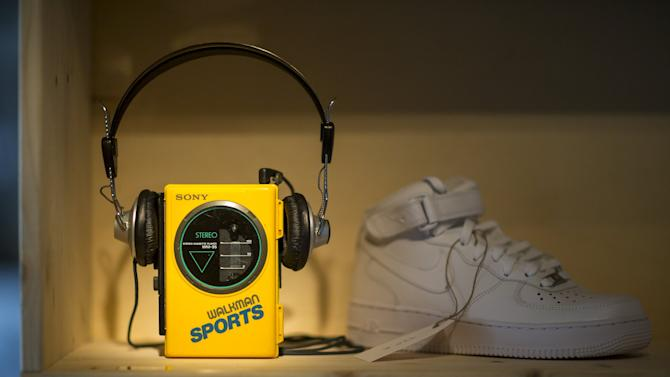 """An old Walkman from Sony is pictured at the concept store """"Knick-Knack to the Future"""" in Berlin"""