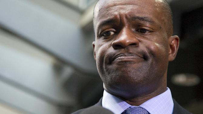 """In this May 24, 2012, file photo, NFLPA executive director DeMaurice Smith pauses as he speaks during a news conference in Washington. The NFL Players Association is asking player agents to warn clients that signing with the New Orleans Saints could subject them to unfavorable workers compensation benefits. In an email Friday, May 16, 2014, Smith said union officials believe agents should """"consider the Saints' efforts"""" to push for legislation that would substantially reduce benefits to players who are hurt outside the 17-week regular season, when player salaries are paid"""