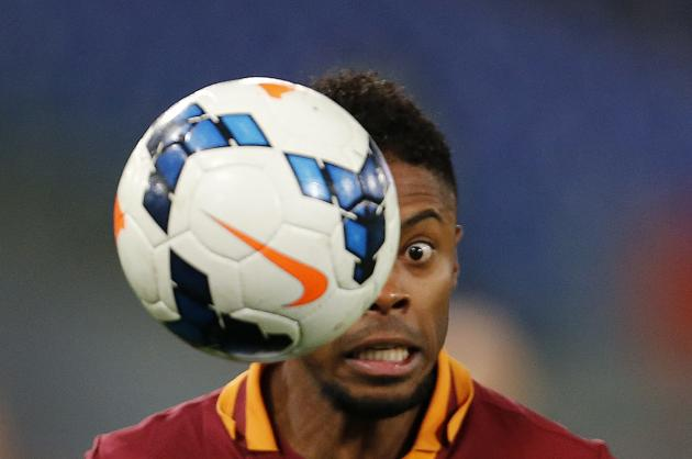 AS Roma's Bastos controls the ball during their Italian Serie A soccer match against Inter Milan at the Olympic stadium in Rome
