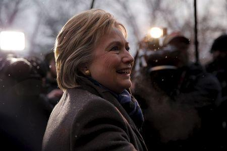 U.S. Democratic presidential candidate Hillary Clinton visits a polling place in Manchester,