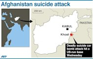 Graphic showing Khost in Afghanistan, where a suicide car bomb attack hit a US-run base, killing at least three people and wounding seven others