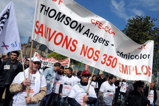 <p>Technicolor employees protest in April against the planned closure of the firm's plant at Angers, France. Mainland French unemployment climbed to 9.7 percent of the workforce in the second quarter of 2012, an increase of 0.1 percent from the first three months of the year, official data showed Thursday.</p>