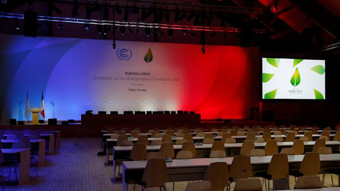 General view of the Plenary conference hall as final preparations continue for the World Climate Change Conference 2015 (COP21) in Le Bourget