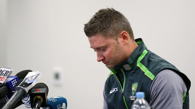 Australian cricket captain Michael Clarke is emotional while making a statement at the Sydney Cricket Ground following the death of Australian cricket player Phil Hughes in Sydney, Saturday, Nov. 29, 2014. Hughes was 63 not out when he was struck by the ball on Tuesday, and that number has become symbolic in the tributes. (AP Photo/Rick Rycroft)