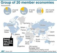 <p>Graphic showing the member economies of the G20. Eurozone leaders faced mounting pressure from impatient G20 partners on Wednesday to accelerate integration, while Spain fought to avoid needing a full debt rescue.</p>