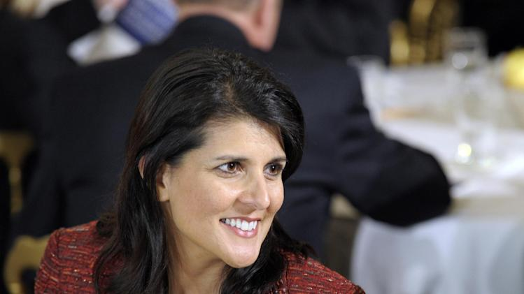 FILE - In this Feb. 27, 2012 file photo, South Carolina Gov. Nikki Haley waits for President Barack Obama to speak in the State Dining Room of the White House in Washington. Not it!  Republicans considered to be up-and-comers are scrambling to make it known they have no interest in becoming Mitt Romney's running mate, taking themselves off the still-forming short list of would-be vice presidents. With Romney poised to win the GOP nomination in June _ if not earlier _ some of the focus has shifted to his pick for the number-two spot on his ticket but no one is rushing forward and many of the top prospects are trying to shut down the conversation before it begins.  (AP Photo/Susan Walsh, File)