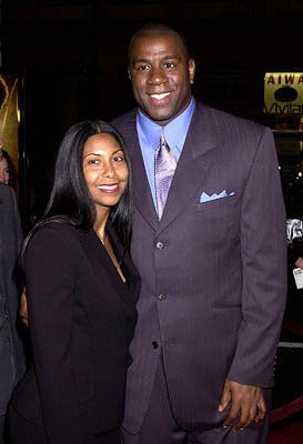 Magic Johnson and wife Cookie at the Hollywood premiere of Ali