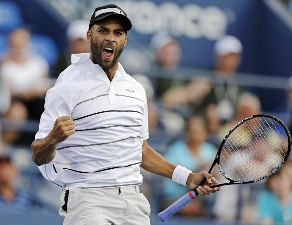James Blake celebrates during his match against Marcel Granollers, of Spain, in the second round of play at the U.S. Open tennis tournament, Thursday, Aug. 30, 2012, in New York. Blake won 6-1, 6-4, 6-2. (AP Photo/Charles Krupa)