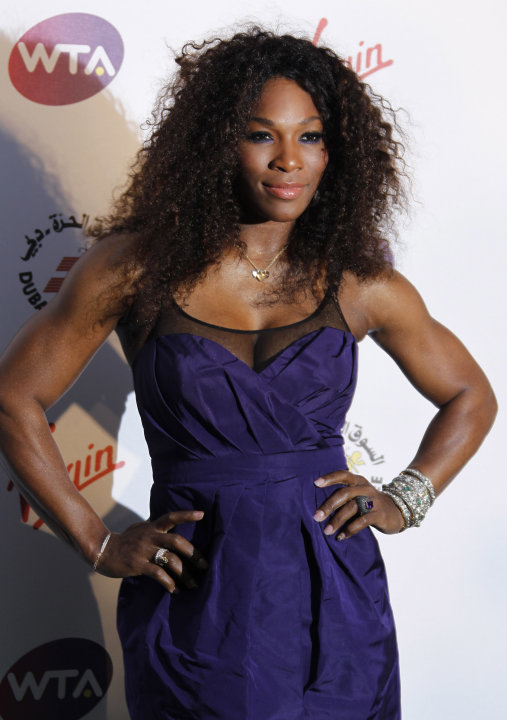 U.S tennis player Serena Williams arrives for the Pre-Wimbledon Party, at Kensington Roof Gardens in west London, Thursday June 21, 2012. (AP Photo/Joel Ryan)
