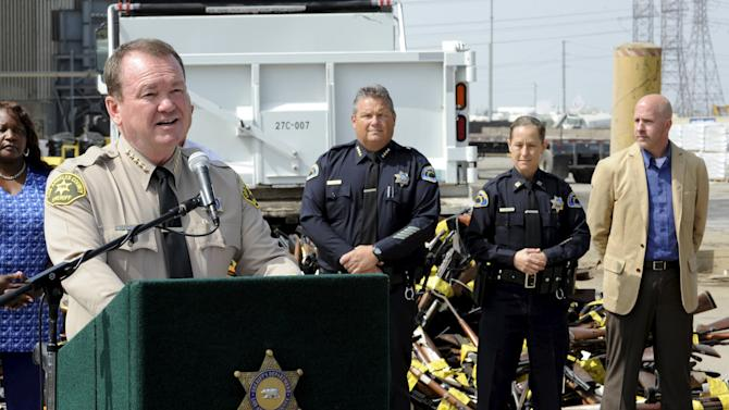 Los Angeles County Sheriff Jim McDonnell announces the destruction of approximately 3,400 weapons during the 22nd Annual Gun Melt in Rancho Cucamonga