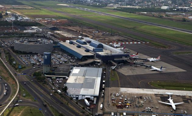 Aerial view shows the Salgado Filho International airport, in Porto Alegre