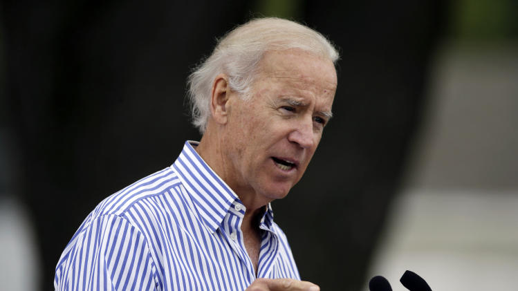 Vice President Joe Biden speaks during Iowa Sen. Tom Harkin's annual fundraising steak fry dinner, Sunday, Sept. 15, 2013, in Indianola, Iowa. (AP Photo/Charlie Neibergall)
