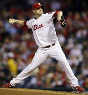 Philadelphia Phillies' Kyle Kendrick pitches in the second inning of a baseball game against the Miami Marlins, Monday, Sept. 10, 2012, in Philadelphia. (AP Photo/Matt Slocum)