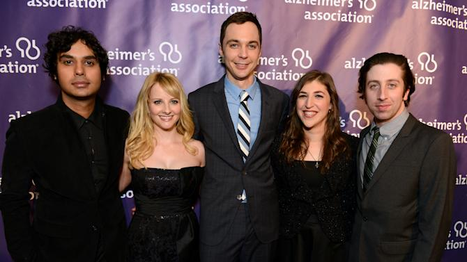 """From left, actors Kunal Nayyar, Melissa Rauch, Jim Parsons, Mayim Bialik and Simon Helberg, from the cast of """"The Big Bang Theory,"""" arrive at the 21st Annual 'A Night at Sardi's' to benefit the Alzheimer's Association at the Beverly Hilton Hotel on Wednesday, March 20, 2013 in Beverly Hills, Calif. (Photo by Jordan Strauss/Invision for Alzheimer's Association/AP Images)"""
