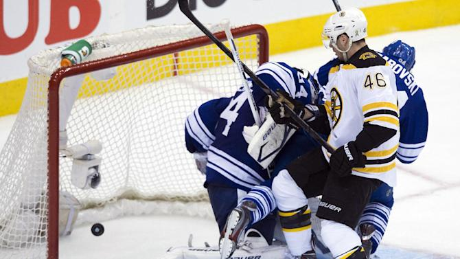 Boston Bruins forward David Krejci, right, scores past Toronto Maple Leafs goalie James Reimer, left, during the second period of Game 4 of their NHL hockey Stanley Cup playoff series, Wednesday, May 8, 2013, in Toronto. (AP Photo/The Canadian Press, Nathan Denette)