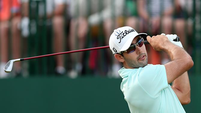 US golfer Cameron Tringale watches his shot on July 17, 2014