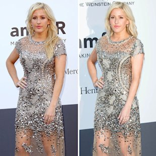 Ellie Goulding worked the metallic trend on the Cannes red carpet last night [WENN]