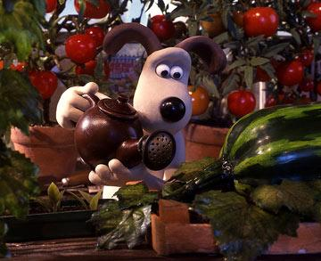 Gromit tends to his garden in DreamWorks Animation's Wallace & Gromit: The Curse of the Were-Rabbit