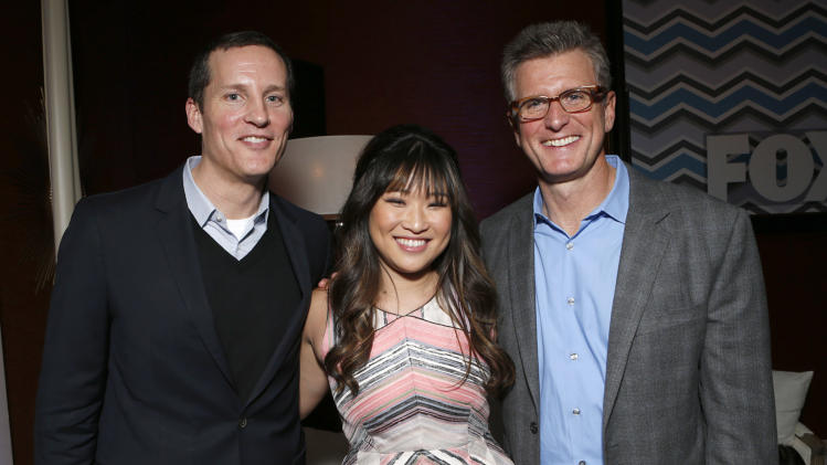 FOX Chief Operating Officer Joe Earley, Jenna Ushkowitz and Chairman of Entertainment FOX Broadcasting Company Kevin Reilly attend the Fox Winter TCA All Star Party at the Langham Huntington Hotel on Tuesday, Jan. 8, 2013, in Pasadena, Calif. (Photo by Todd Williamson/Invision/AP)