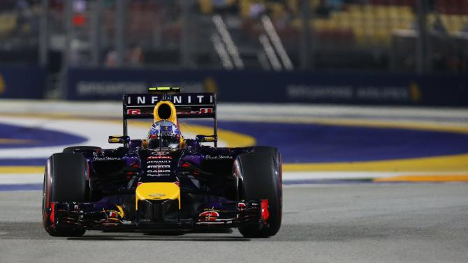 Red Bull Formula One driver Ricciardo of Australia drives during the second practice session of the Singapore F1 Grand Prix at the Marina Bay street circuit in Singapore