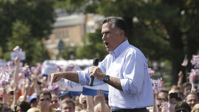 Republican presidential candidate, former Massachusetts Gov. Mitt Romney campaigns at Van Dyck Park in Fairfax, Va., Thursday, Sept. 13, 2012. (AP Photo/Charles Dharapak)