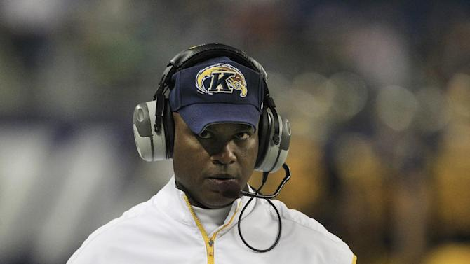 Kent State head coach Darrell Hazell walks the sidelines during the first quarter of the Mid-American Conference championship NCAA college football game against Northern Illinois, Friday, Nov. 30, 2012. (AP Photo/Carlos Osorio)
