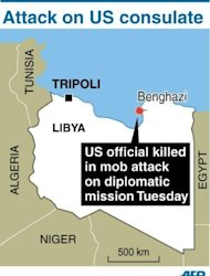 <p>Map locating Benghazi in Libya. An armed mob protesting over a film deemed offensive to Islam attacked the US consulate in Benghazi killing an American, hours after angry Islamists stormed Washington's embassy in Cairo.</p>