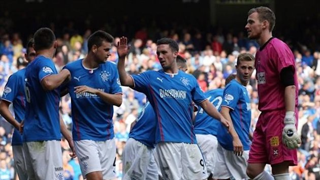 Rangers celebrate after Lee McCulloch scored their third goal against East Fife during the Scottish League One match at Ibrox Stadium, Glasgow (PA Photos)