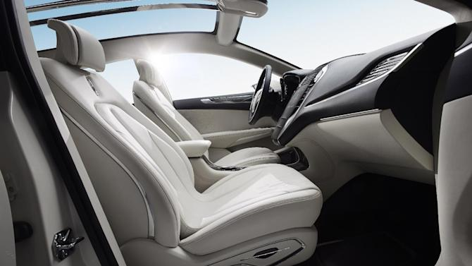 This product image provided by Ford shows the Lincoln MKC Concept revealed Sunday, Jan. 13, 2013. The Lincoln MKC Concept's seats and pillars are wrapped in smooth premium leather. (AP Photo/Ford)