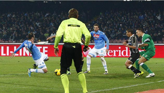 Napoli's Pandev shoots to score against Udinese during their Italian Serie A soccer match at San Paolo stadium in Naples