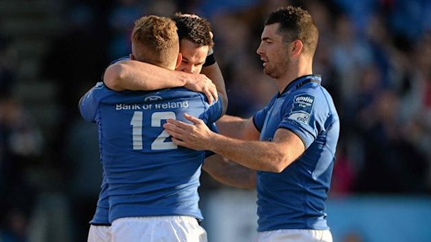 Leinster players celebrate victory