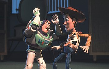 Buzz Lightyear and Woody in Disney's Toy Story 2